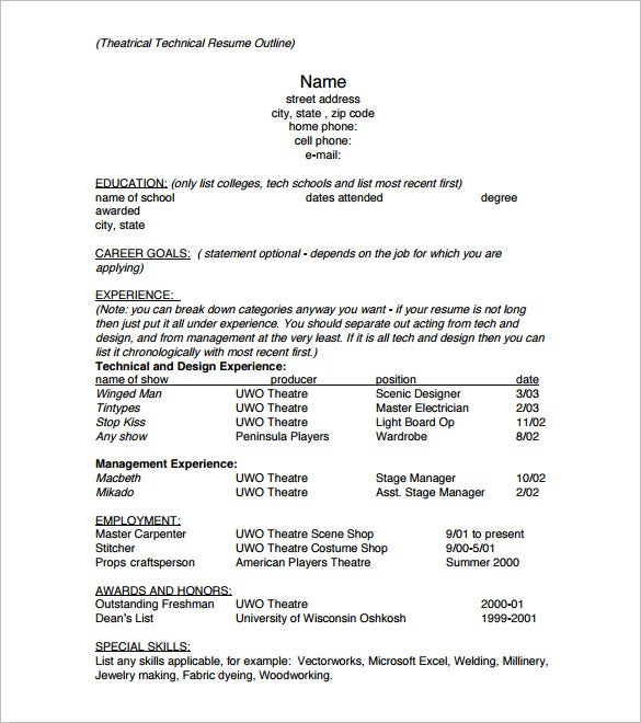 resume outline templates samples pdf free premium template sample theatrical technical Resume Resume Outline Template