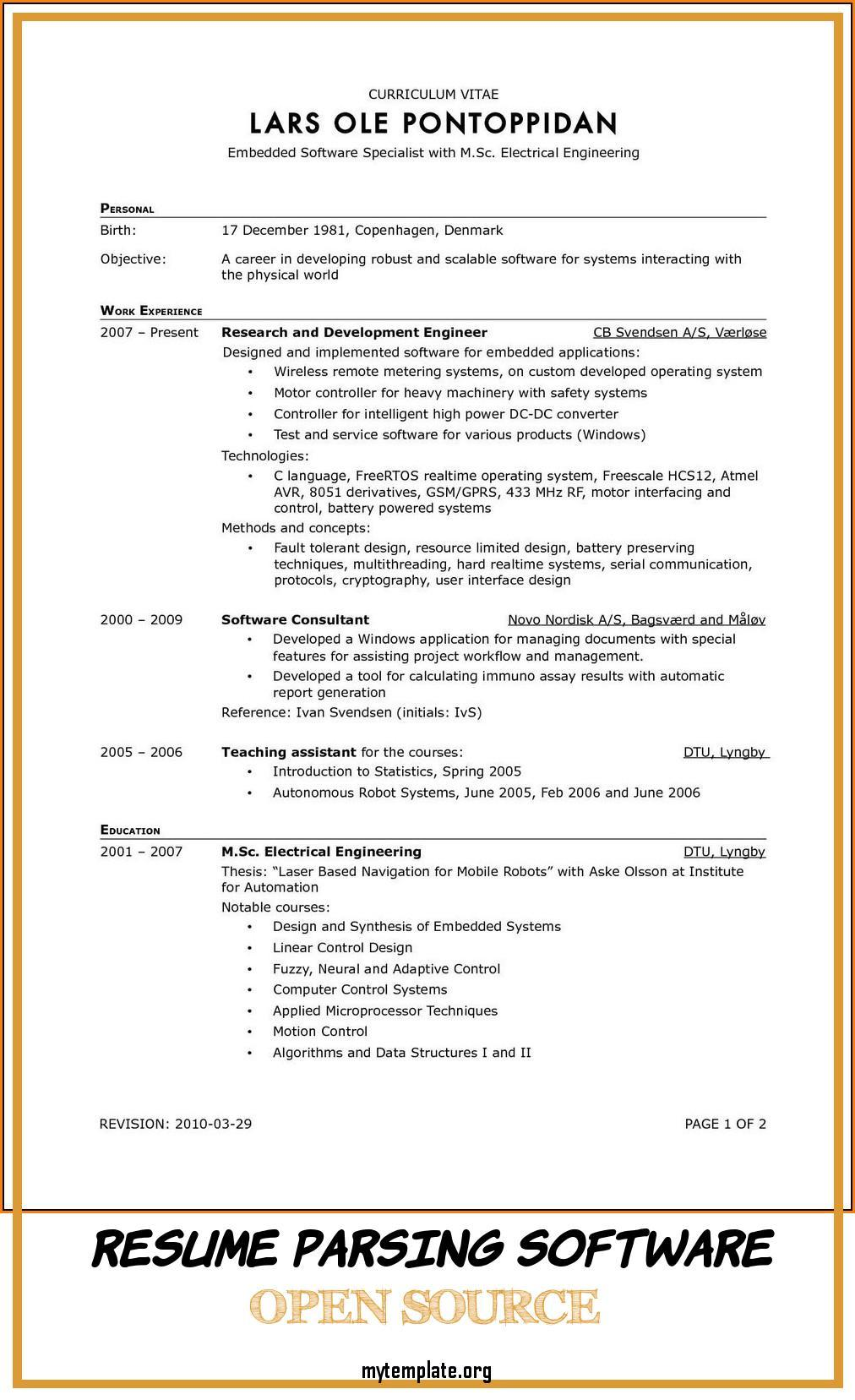 resume parsing software open source free templates and analysis of parser examples pin Resume Resume Parsing And Analysis