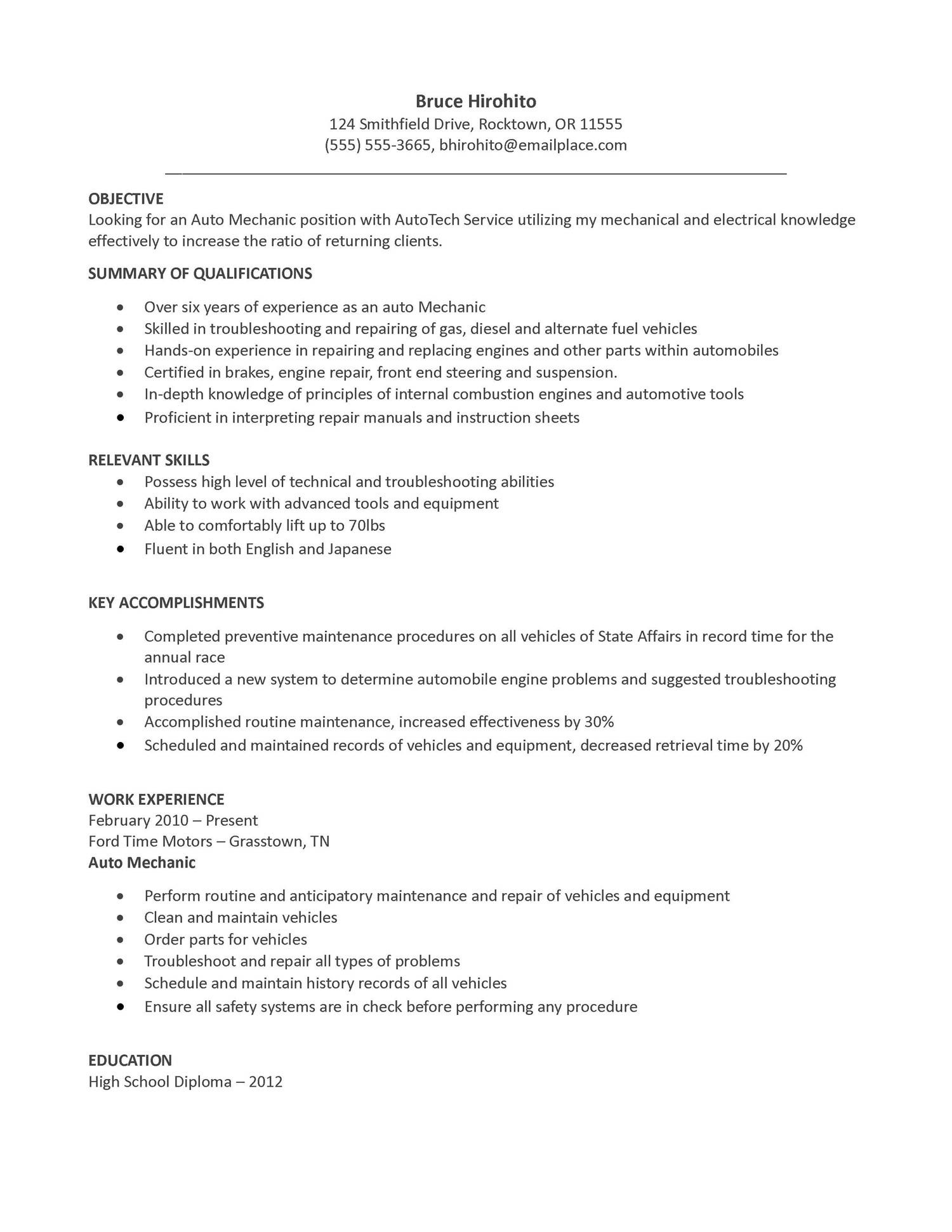 resume sample auto mechanic objective examples diesel hospitality management summary or Resume Diesel Mechanic Resume Objective