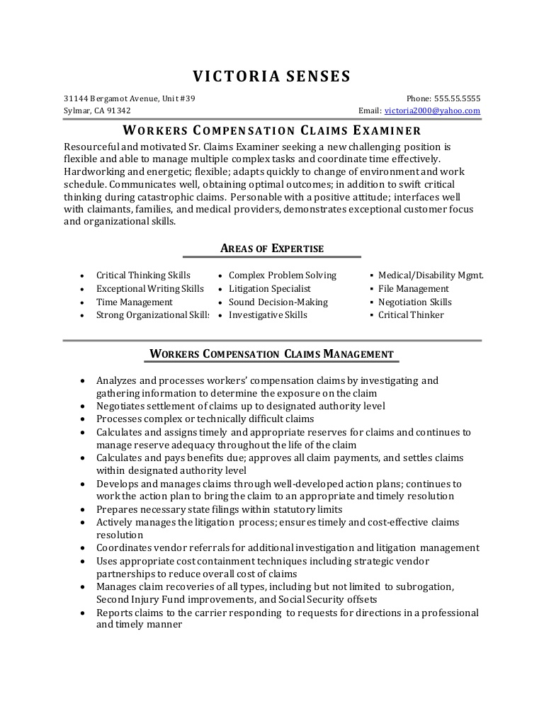 resume sample workers compensation claims specialist lva1 app6891 thumbnail school Resume Compensation Specialist Resume