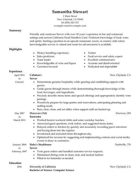 resume samples for servers format entry level server administrative manager summary Resume Entry Level Server Resume