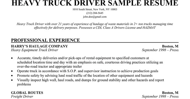 resume samples haul truck driver sample affordable service example of customer objective Resume Long Haul Truck Driver Resume Sample