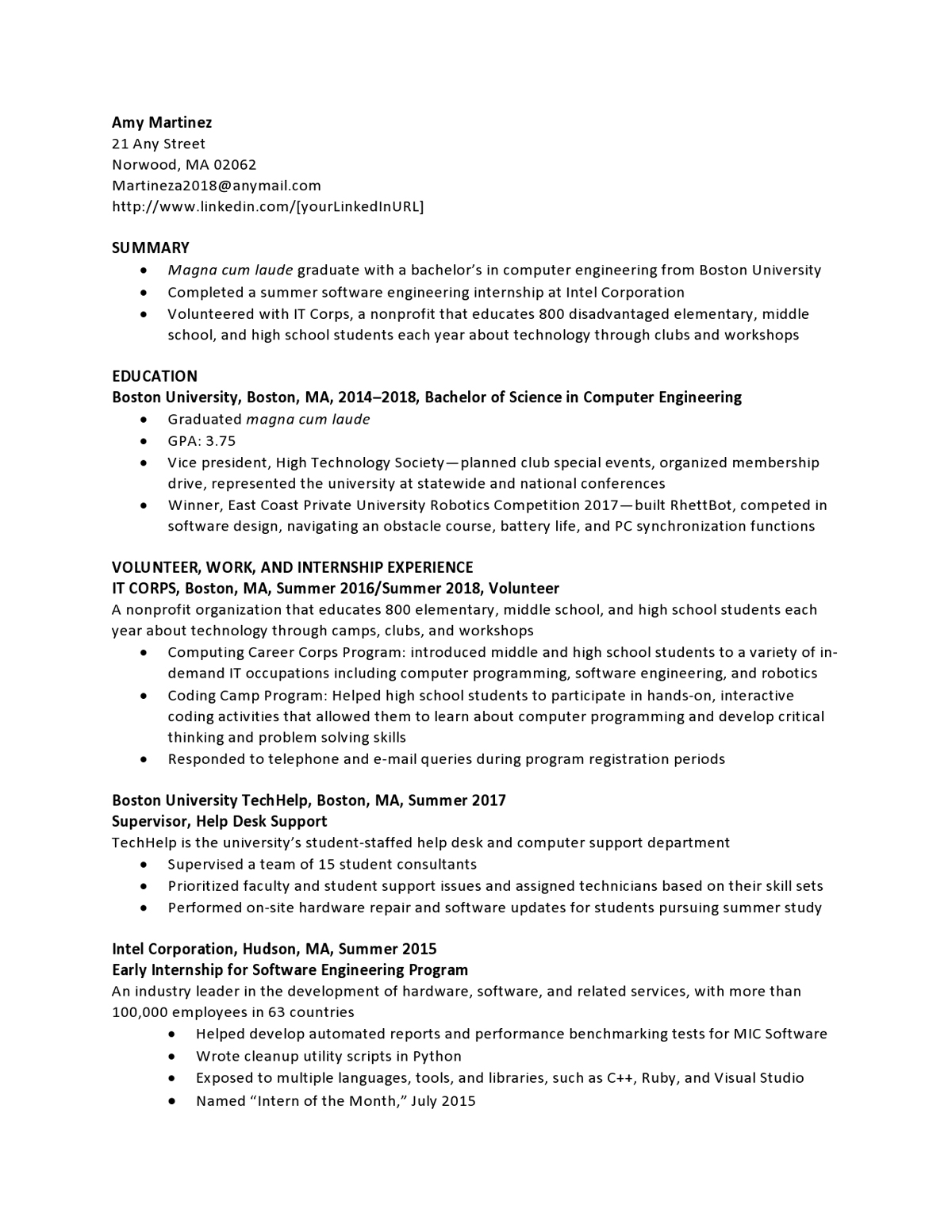 resume samples templates examples vault entry level information technology Resume Entry Level Information Technology Resume Examples