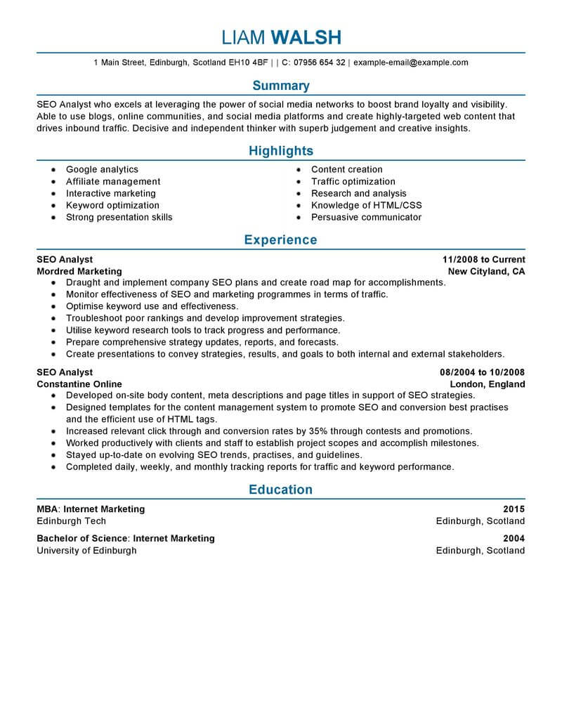 resume seo marketing professional coloring bestesume example livecareer creating the Resume Livecareer Free Resume Templates