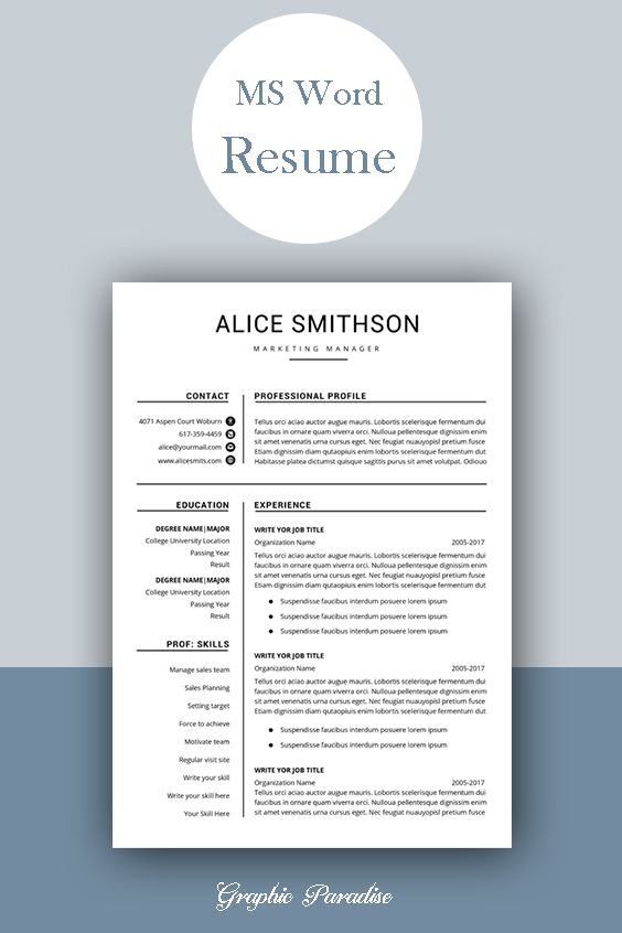 resume template professional instant etsy word free cv microsoft templates modern ansible Resume Microsoft Word Resume Templates Modern
