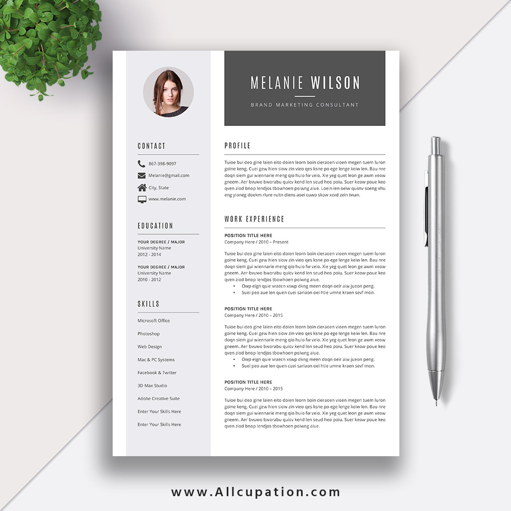 resume template word format modern cv job cover letter references instant mac pc melanie Resume Resume References Template Download