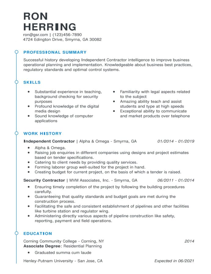 resume templates edit in minutes chronological template esteemed blue career objective Resume Chronological Resume Template 2021