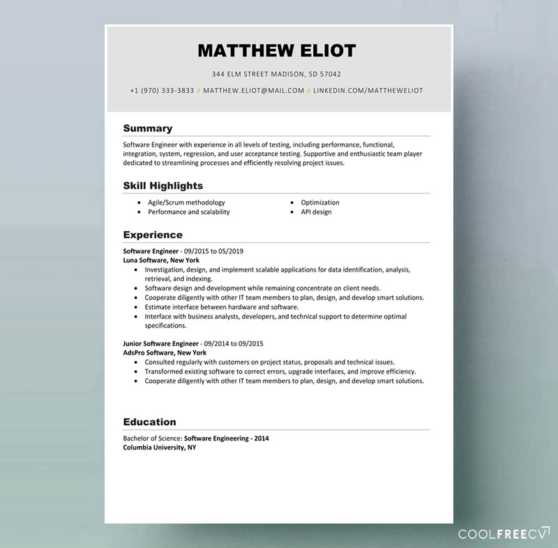 resume templates examples free word template example it sample high school software Resume Free Resume Template Download 2020