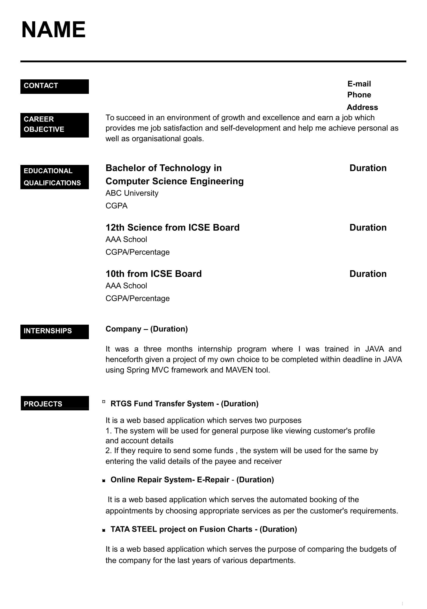 resume templates for freshers free word format awesome best job template writing samples Resume Resume Writing Samples For Freshers