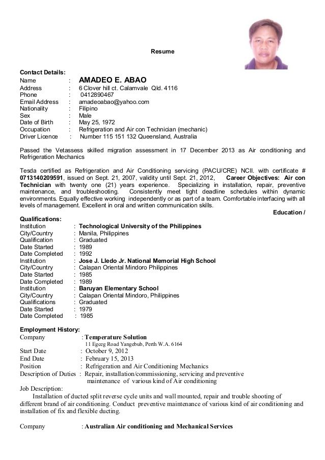 resume updated for refrigeration and airconditioning mechanic objective assistant Resume Resume For Refrigeration And Airconditioning Mechanic