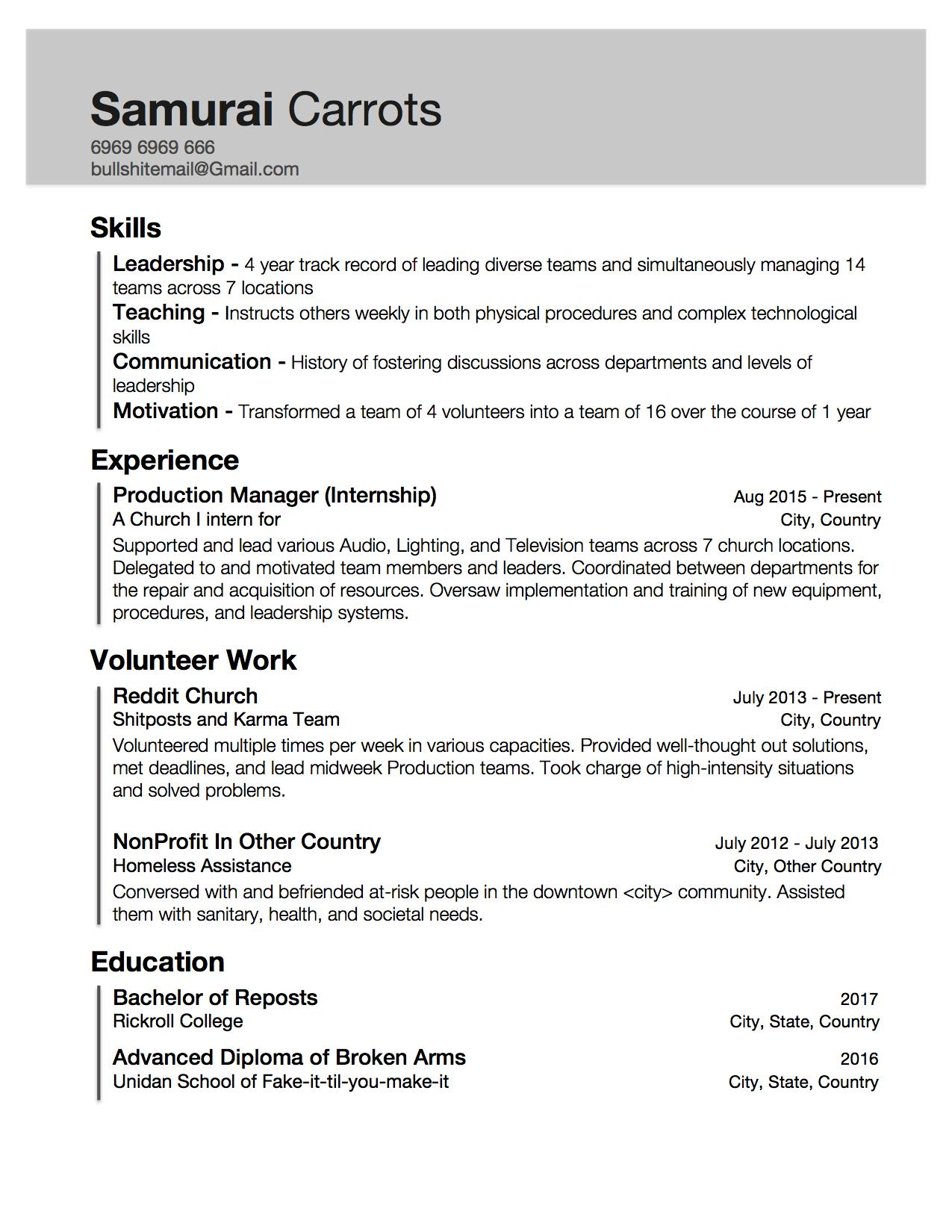 resume with little work experience but skills acquired through internship and Resume Should I Put Volunteer Work On Resume