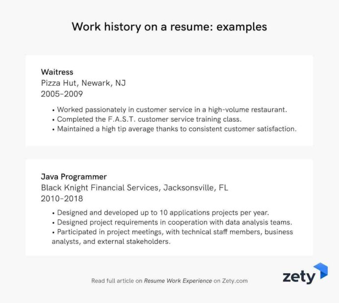 resume work experience history example job descriptions one year on examples headline for Resume One Year Work Experience Resume