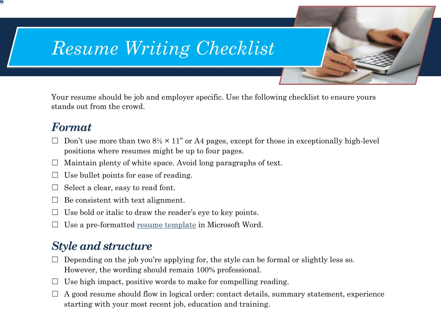 resume writing checklist learn content copy for impressive high school summary format Resume Checklist For Resume Writing