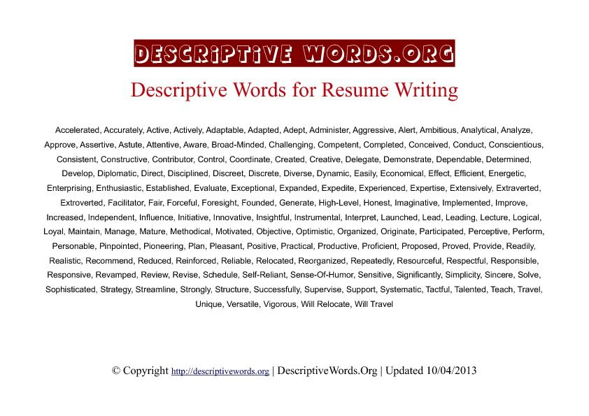 resume writing descriptive words to use word reference for profile attach on linkedin Resume Descriptive Words For Resume Profile