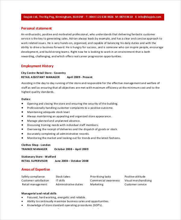 retail assistant manager resume sample skills chef examples daycare signal processing Resume Assistant Manager Skills Resume