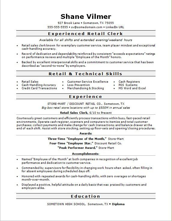 retail clerk resume sample monster profile examples for summary of qualifications third Resume Resume Profile Examples For Retail