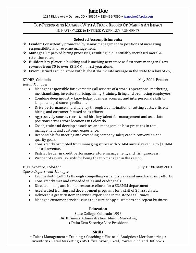 retail management resume examples and samples lovely manager sample department animal Resume Retail Department Manager Resume Examples