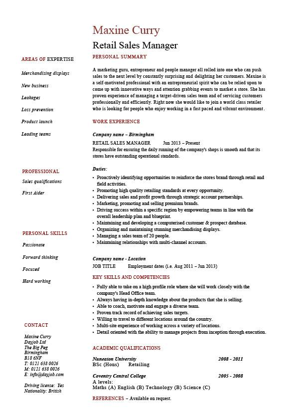 retail manager resume example job description sample template marketing business trade Resume Trade Marketing Executive Resume