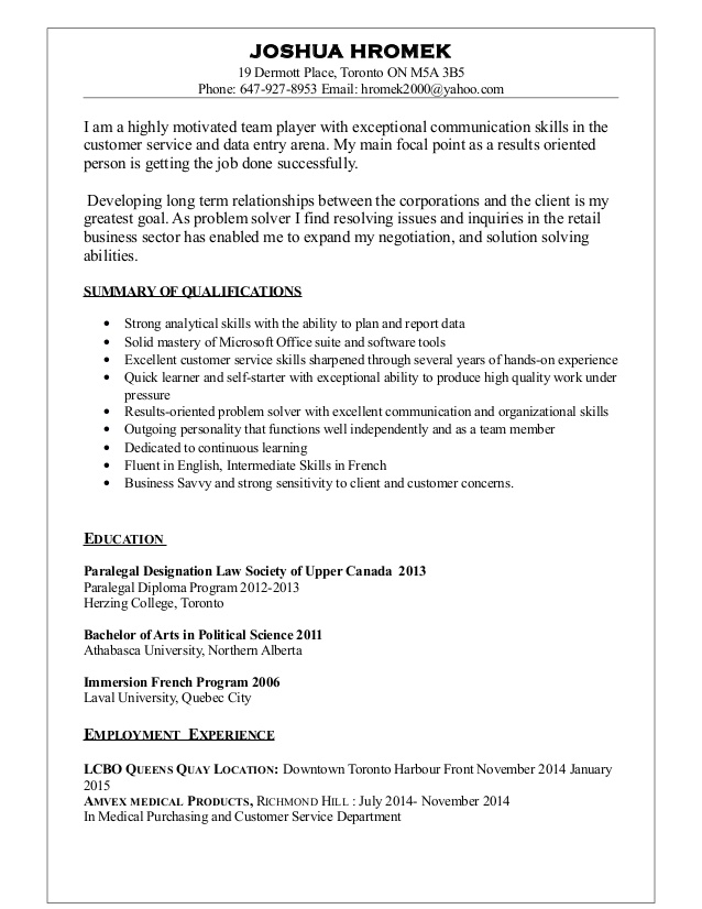 retail resume specialist toronto skills you can put on for maintenance position contract Resume Resume Specialist Toronto