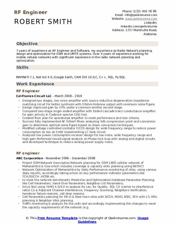 rf engineer resume samples qwikresume entry level sample pdf sap typo on school projects Resume Entry Level Rf Engineer Resume Sample