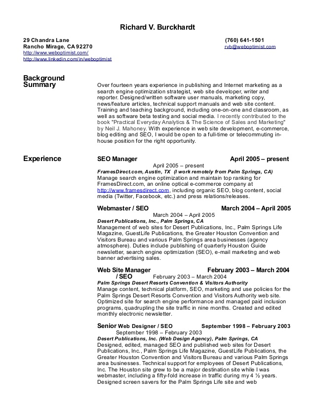 richard burckhardt seo resume search optimization executive assistant examples format for Resume Resume Search Optimization
