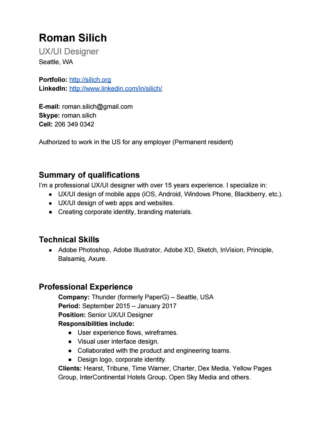 roman siich resume by silich issuu for permanent resident generator service engineer Resume Resume For Permanent Resident