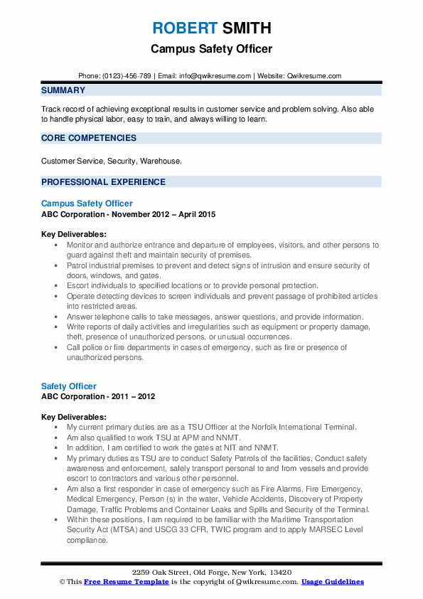 safety officer resume samples qwikresume format guidelines pdf job education examples Resume Resume Format Guidelines