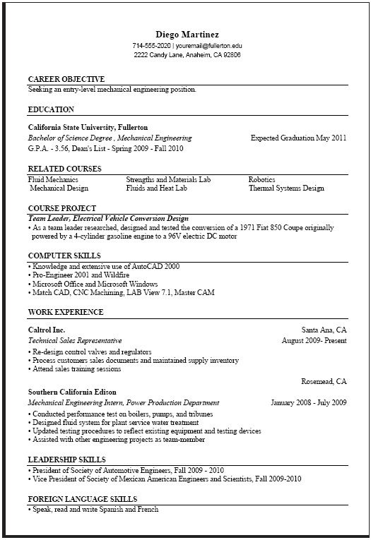 sample computer engineering resume free templates job samples internship format for Resume Resume Format For Computer Engineer