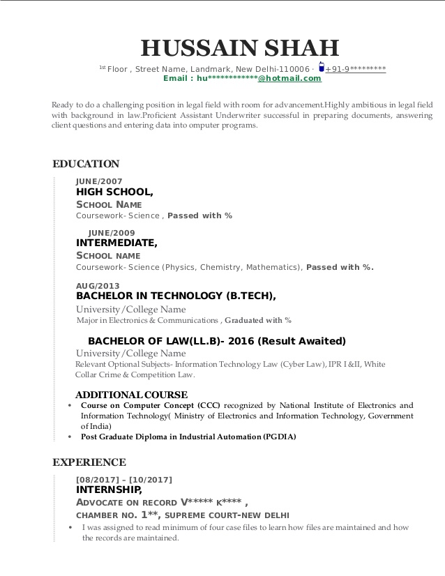 sample cv for fresh law graduate with engineering degree resume computer science booklet Resume Sample Resume For Computer Science Fresh Graduate
