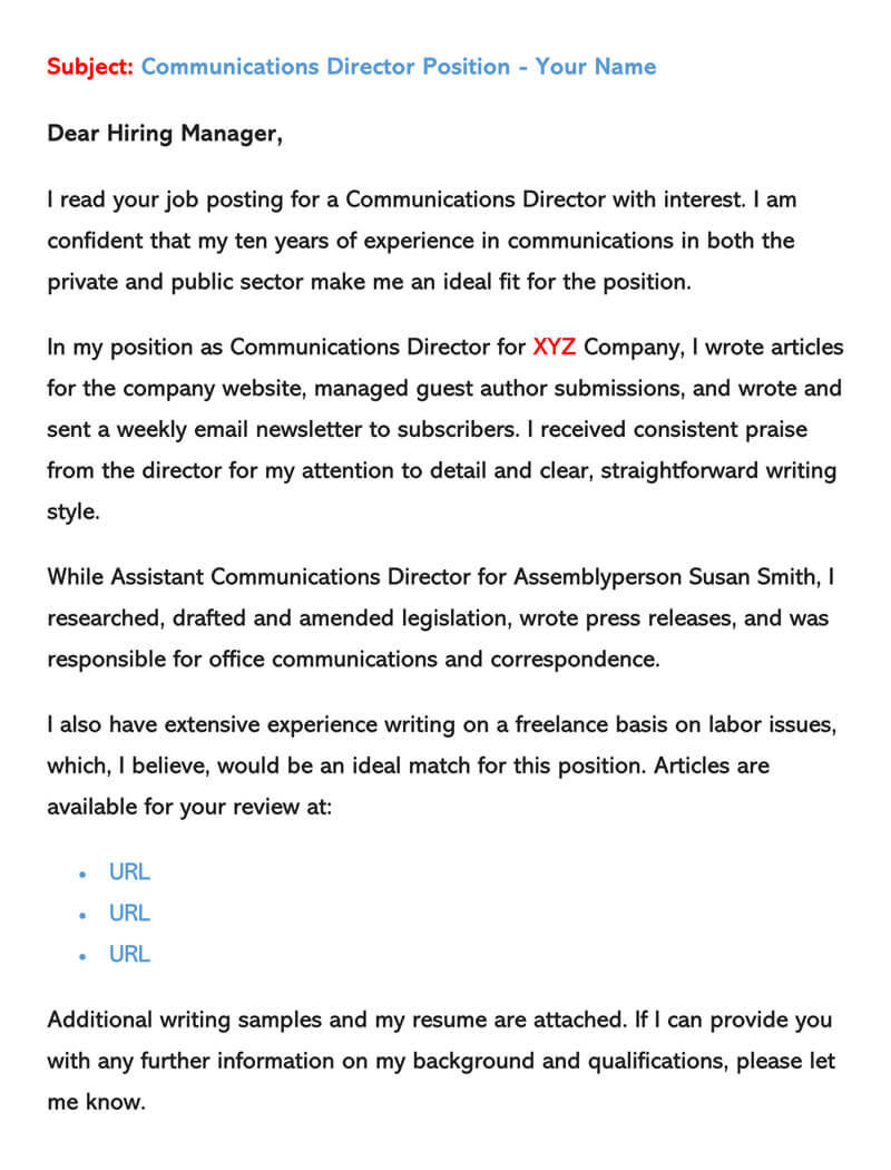 sample email cover letters examples to write and send sending resume via letter for Resume Sending Resume Via Email