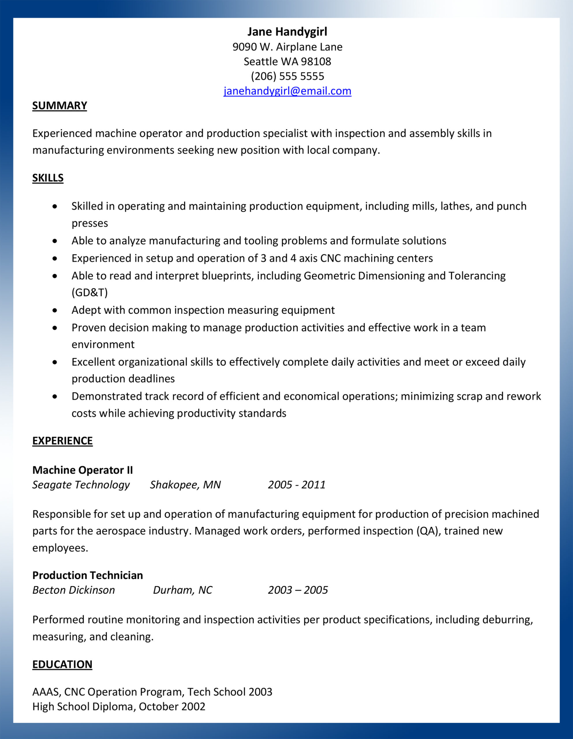 sample machinist resume ajac for operator occupational therapy cover letter writing lab Resume Sample Resume For Machinist Operator