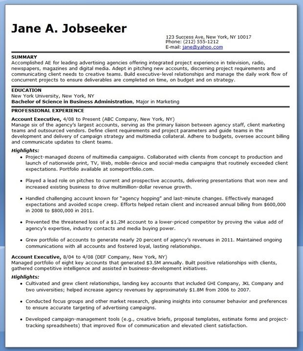 sample resume account executive advertising downloads media safety trainer objective for Resume Media Account Executive Resume