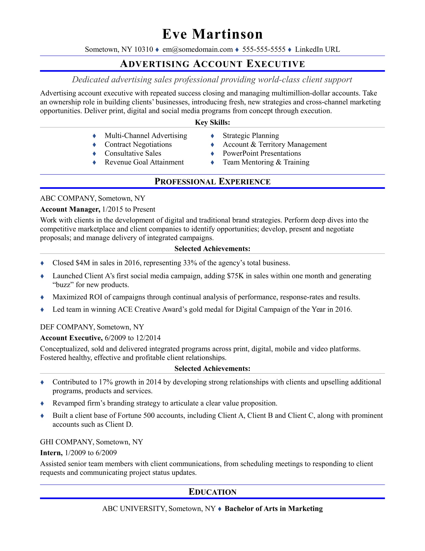 sample resume for an advertising account executive monster media computer network Resume Media Account Executive Resume