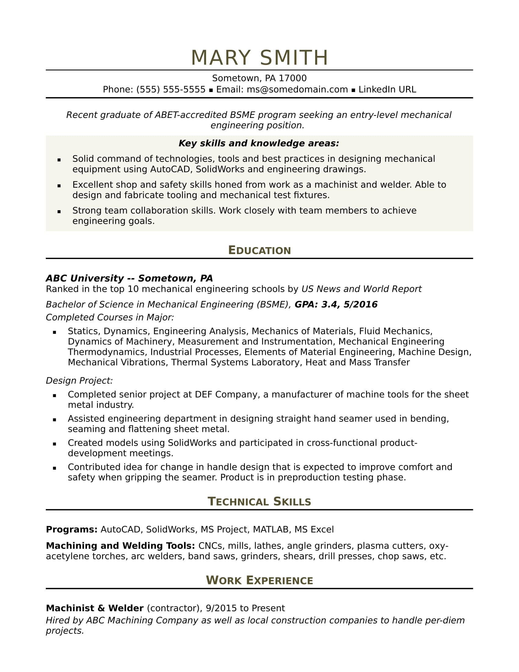sample resume for an entry level mechanical engineer monster engineering format Resume Engineering Resume Format