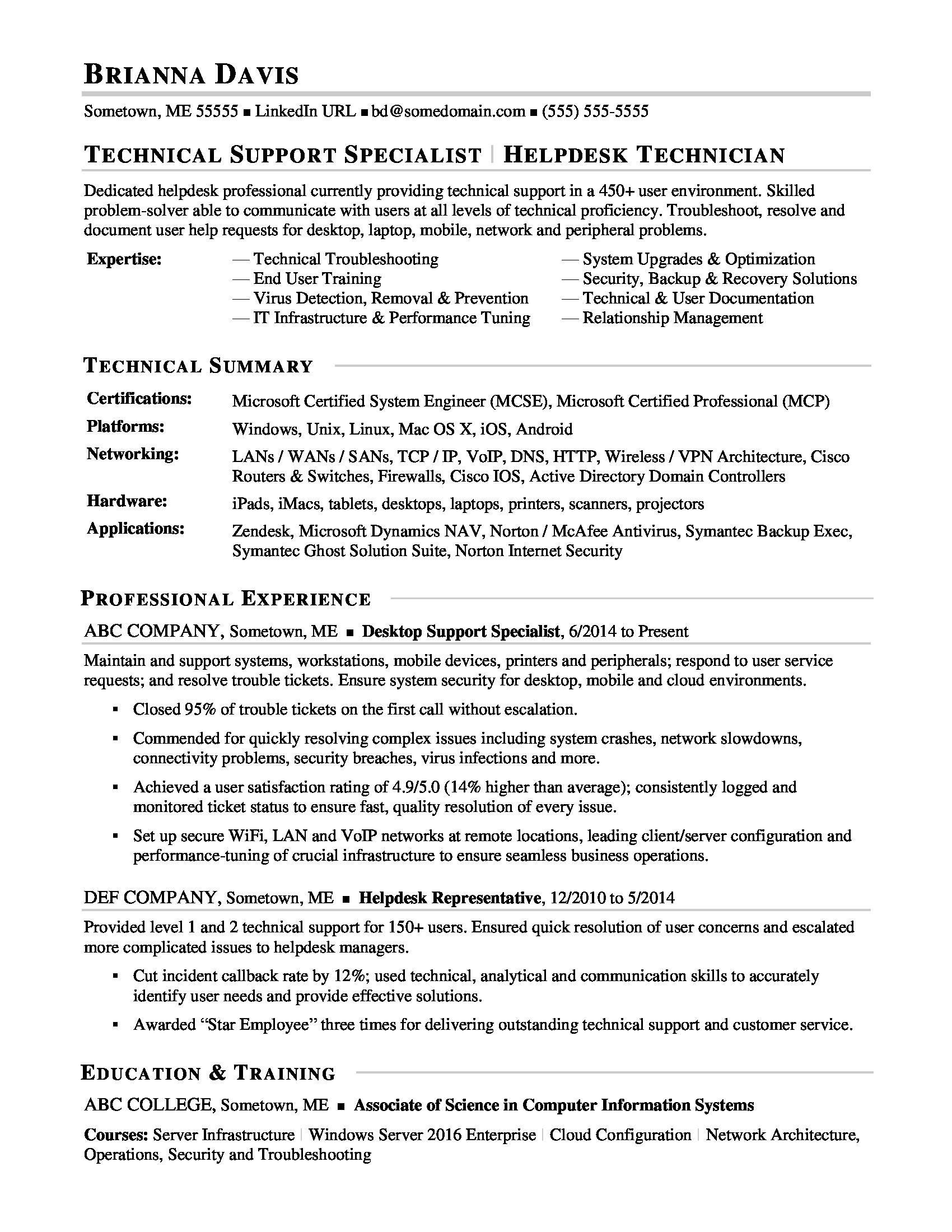 sample resume for experienced it help desk employee monster technical support specialist Resume Technical Support Specialist Resume