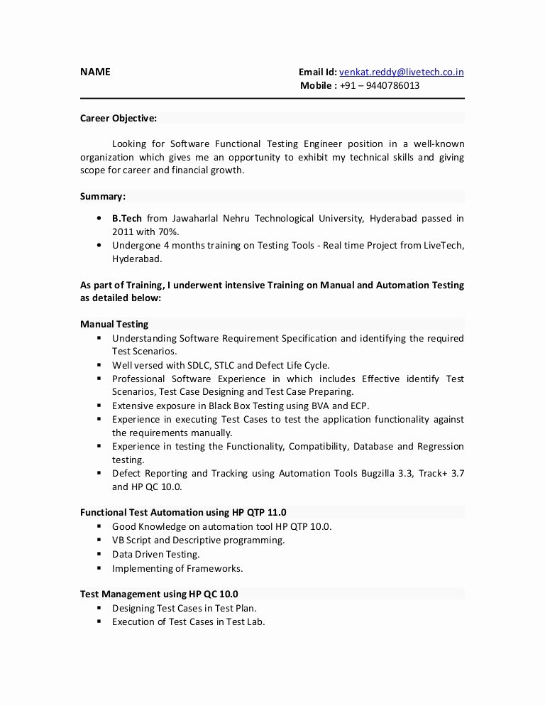 sample resume for experienced software tester entry level manual qa operations manager Resume Entry Level Software Tester Resume Sample