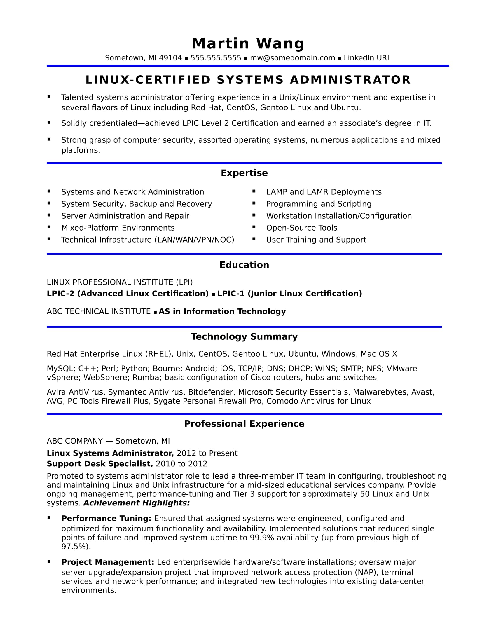 sample resume for midlevel systems administrator monster years experience proposal Resume Sample Resume For 3 Years Experience