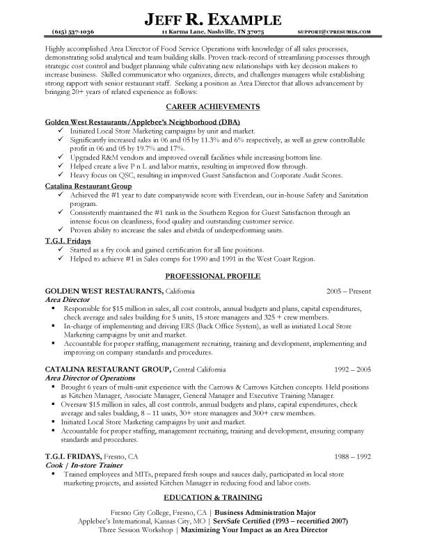 sample resume for service industry objective examples food services areadirector1 pet Resume Resume Objective Examples For Food Services