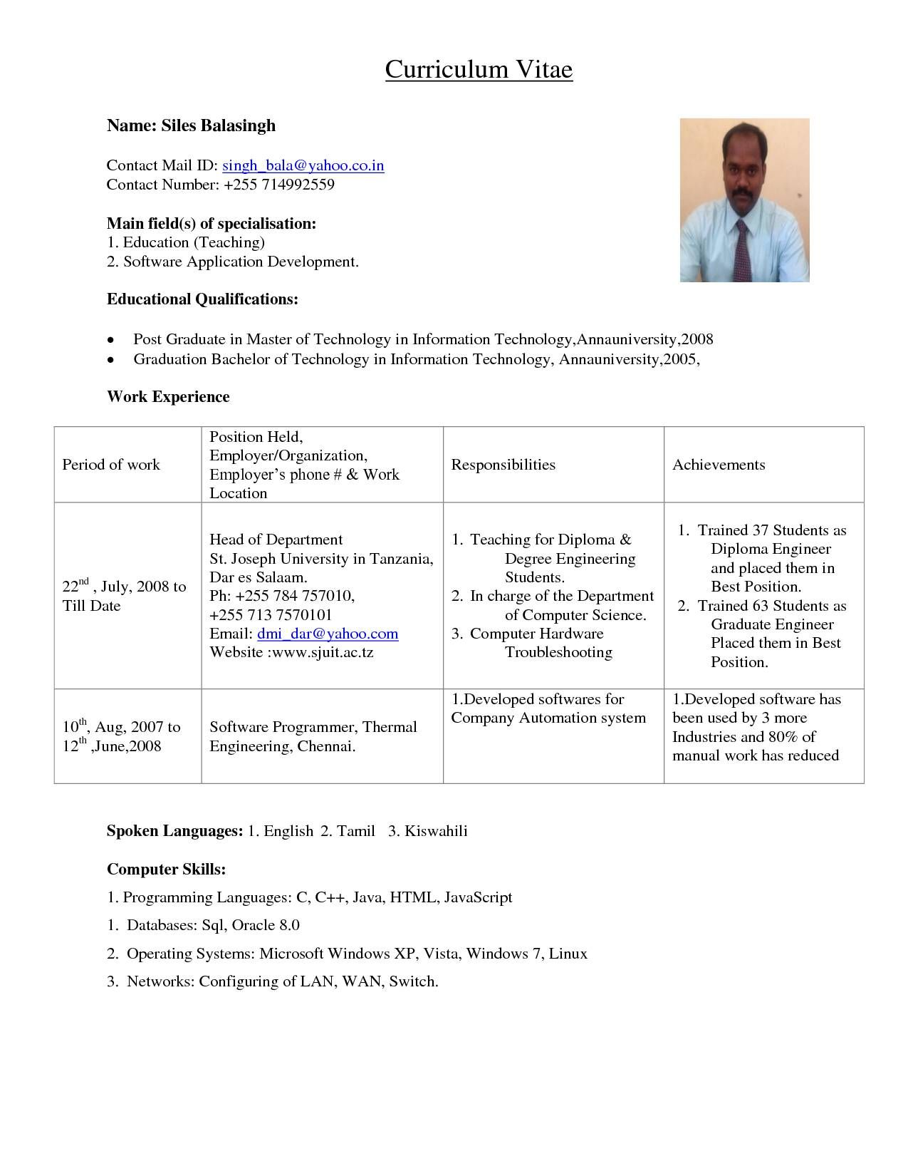 sample resume format for assistant professor in engineering teaching jobs lecturer post Resume Resume Format For Lecturer Post