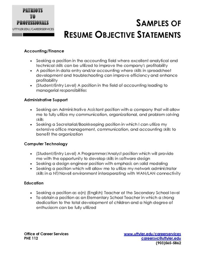 sample resume objective statement free templates examples best statements general labor Resume Best Resume Objective Statements