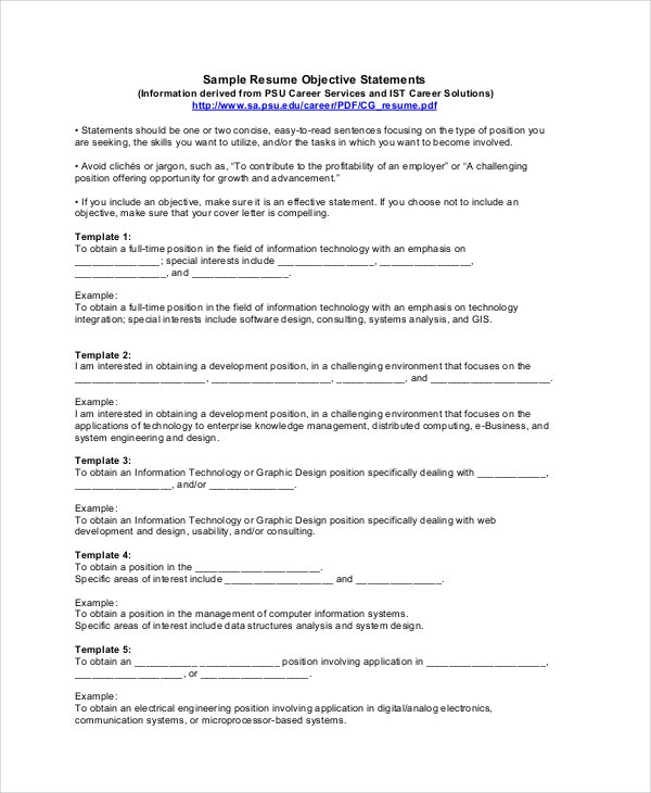 sample resume objectives pdf free premium templates general business objective statements Resume General Business Resume Objective