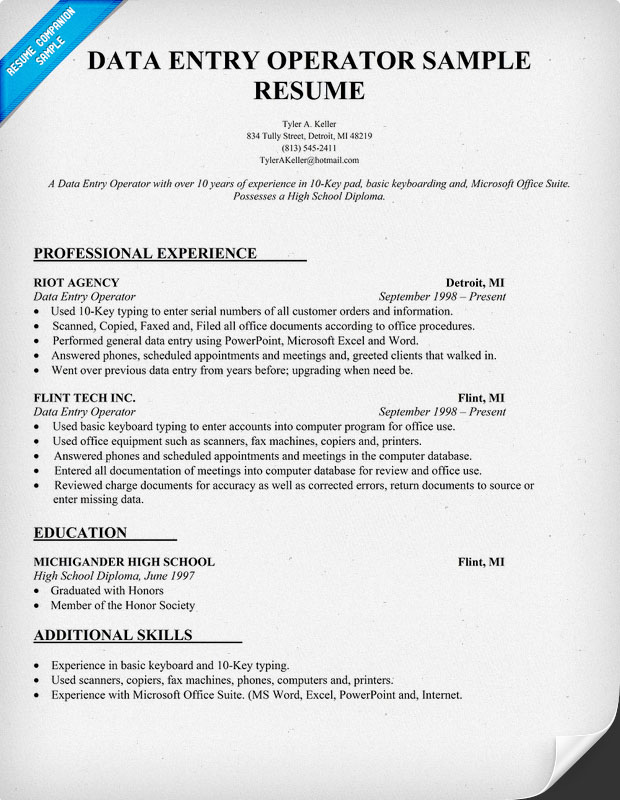 sample resume of data entry operator computer dataquest roustabout technology project Resume Computer Operator Resume Sample