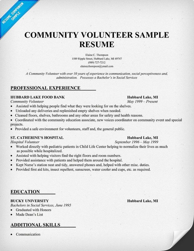 sample resume showing volunteer work community to do good examples service for research Resume Community Service Resume