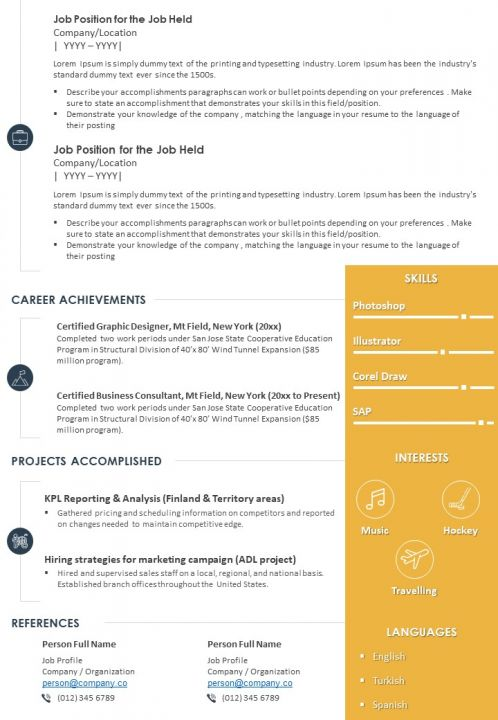 sample resume template with profile summary for professionals powerpoint slides diagrams Resume Profile Summary For Resume