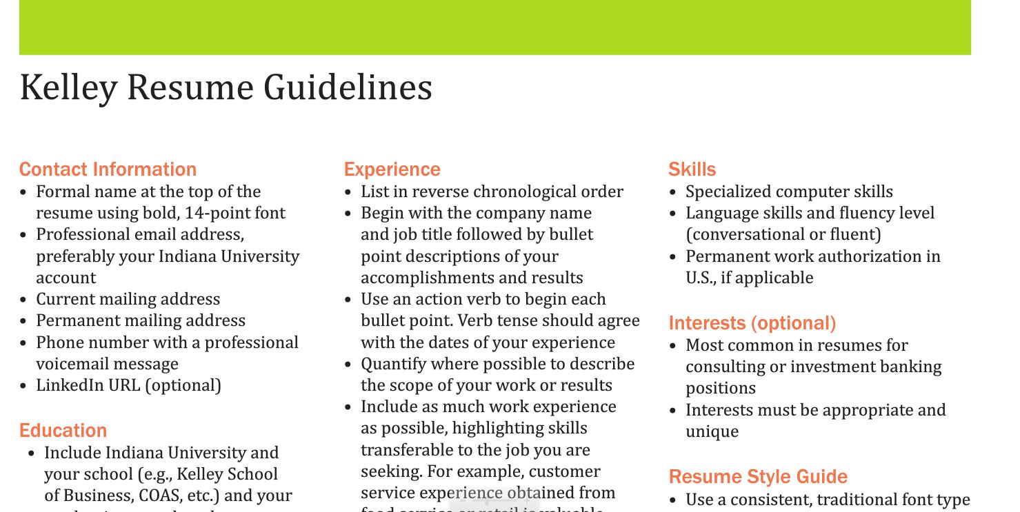 sample resumes kelleyconnect kelley school of business appropriate email address for Resume Appropriate Email Address For Resume