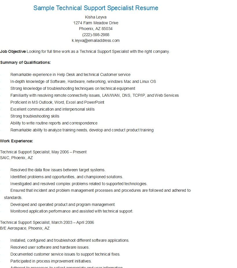 sample technical support specialist resume job samples it email content sandblaster Resume Technical Support Specialist Resume