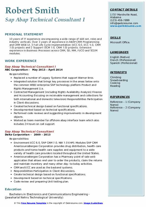 sap abap technical consultant resume samples qwikresume workflow pdf software development Resume Sap Abap Workflow Resume