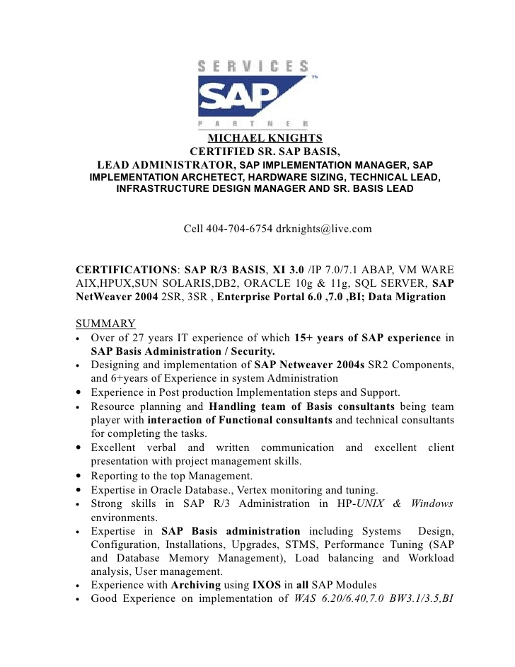 sap business objects administrator resume sample document resumes basis michael knights Resume Sap Basis Administrator Resume Sample