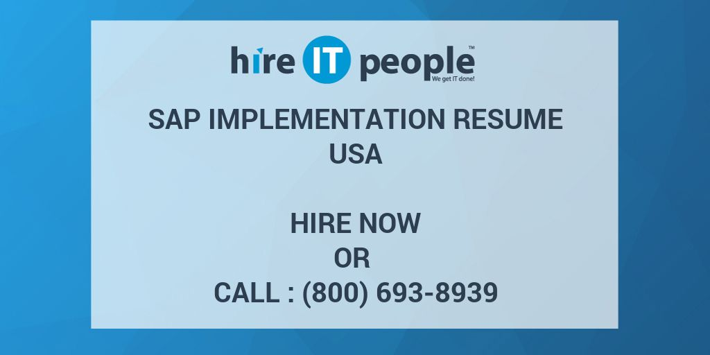 sap implementation resume hire it people we get done sterile processing intern skills Resume Sap Implementation Resume