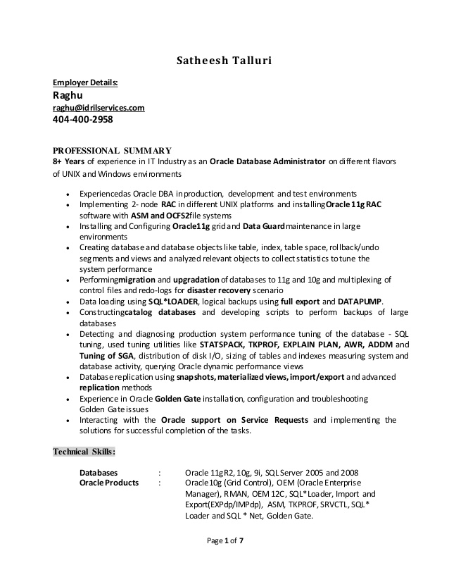 satheesh oracle resume for years federal template fbi office and computer skills little Resume Oracle Dba Resume For 2 Years